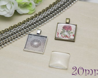 Glass Cabochon Pendant Kits - 20mm Square Blank Pendant Bezel Trays - Square Trays - 20mm Square Cabochons - Ball Chain or Rolo Chains - DIY