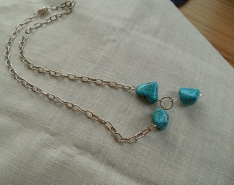 Bold turquoise necklace with Swarovski accent.