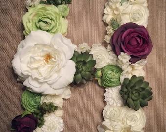 Floral Letter- Hampton Color Scheme