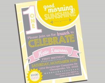 Good Morning Sunshine Printable Invitation - DIGITAL FILE