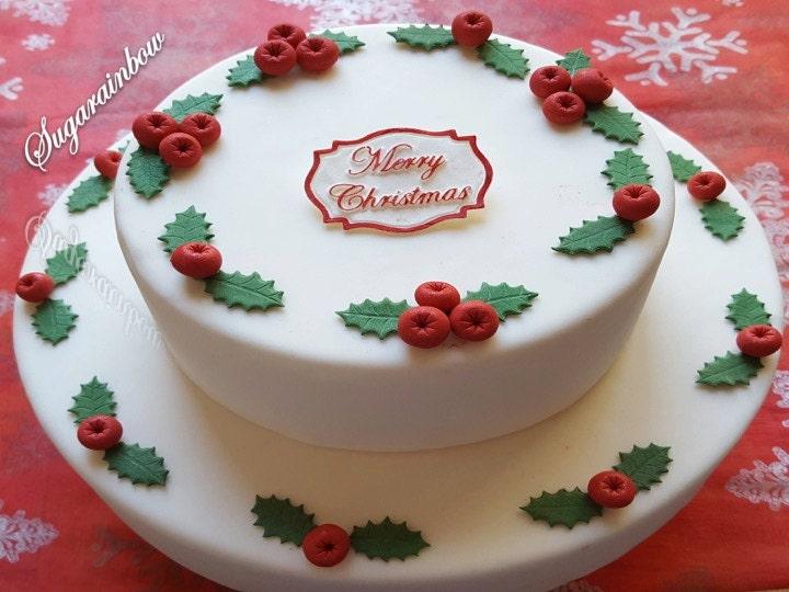 Edible sugar christmas berries 30 holly leaves 30 plaque