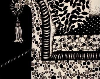 Black and white Ink Illustration - Floral Cushion