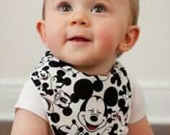 Mickey Mouse Inspired Bandana Terry Cloth Baby Bib