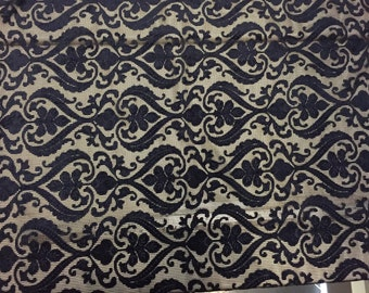 Black Lace Netting with Navy Blue Velvet embossed design, sold by the yard, 58 inches wide