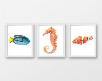 Watercolor Sea Life Art Print Set - Children's Wall Art - Nursery Art - Nautical Decor - Set of 3