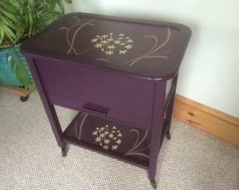 """NOW SOLD ~ Fab Upcycled Vintage Sewing or Knitting Box Farrow & Ball """"Pelt"""". One of a kind. SOLD"""