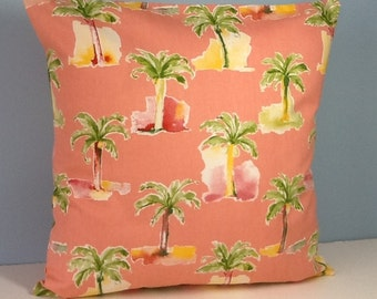 "Tropical pillow cover. Palm trees. Pink pillow. Palm Beach style. 18"" decorator throw pillow. Hollywood Regency. Retro Mid century."