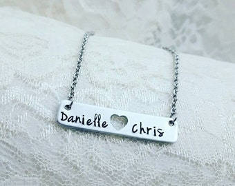Monogram Necklace,Couple necklace,Hand stamped,Anniversary gift,Wedding gift, Handmade necklace,Engagement, Birthday gift for her