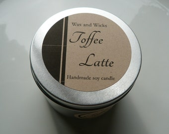 Toffee Latte soy wax candle tin Net 100 g