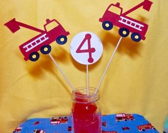 Fire Truck 3 Piece Birthday Centerpiece