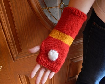 Knitted arm warmers, red and gold Iron Man gauntlet