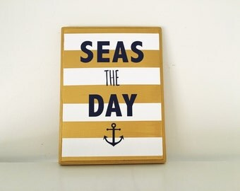 Seas the Day nautical wood sign | Nautical Wood Wall Art | Home Decor | Gallery Wall | Punny Signs