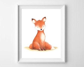 Fox Nursery Wall Art,Woodland Nursery Art,Woodland Animal,Fox Nursery,Fox Kids Room,Fox Baby Room,Woodland Art,Fox Children Art,Fox Woodland
