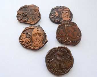 Vintage pins Brothers Kyi, Cheek, Horeb and sister Lybid, his name Kiev, Made in USSR, 1980s