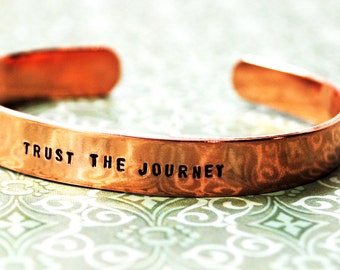 "Trust The Journey - 3/8"" Copper Bracelet, Handstamped Jewelry by Juniper Road"