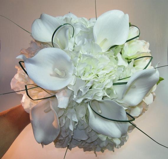 Bridal Bouquets Calla Lilies And Hydrangeas : Silk bridal bouquet calla lilies hydrangea exposed stems