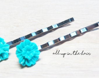 Teal Bobby Pins - Teal Mum Bobby Pins - Flower Bobby Pins