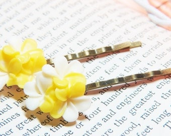 Flower Bobby Pins - Yellow Plumeria Bobby Pins - Yellow Bobby Pins - Yellow Flower Bobby Pins - Flower Hair Pins - Tropical Flower Hair Pins