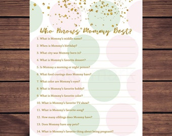 Pink Mint and Gold Who Knows Mommy Best, Baby Shower Pink and Mint Dots Who Knows Mommy Best, Instant Download PDF Printable