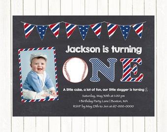 Baseball 1st Birthday Invitations, Baseball Photo Invitations, Red White Blue 1st, 2nd, 3rd First Birthday Invitation, Digital Printable