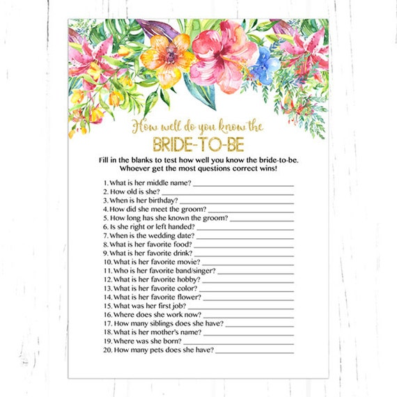 How Well Do You Know The Bride Shower Game Floral Who Knows
