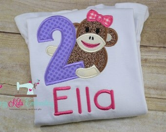 Monkey birthday shirt girl child kid toddler infant baby custom embroidered applique name
