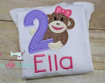 Monkey birthday shirt girl child kid toddler infant baby custom embroidered applique name