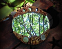Aquamarine and Carnelian Triple Goddess Mirror handcrafted in clay FREE SHIPPING