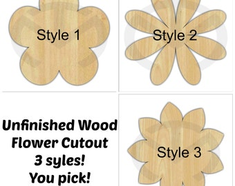 Unfinished Wood Flower Door Hanger Laser Cutout, Home Decor, Various Sizes, Spring, Daisy, Poppy, Sunflower, Various Styles