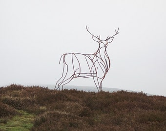 Lifesize stag garden sculpture - interesting handmade item for your garden from mild steel
