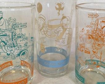 Set/3 Mr. Magoo Vintage Welch's Jelly Jar Glasses
