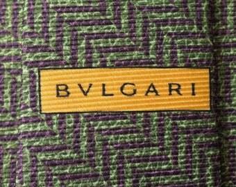 Bvlgari Tie Woven Silk Zigzag Swirl Pattern Green Vintage Designer Dress Davide Pizzigoni Necktie Made In Italy
