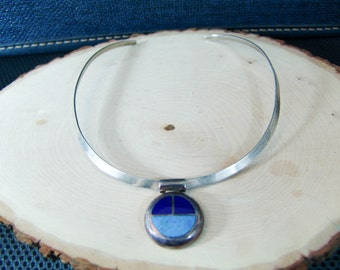Sterling Silver Choker - Necklace - Turquoise Lapis