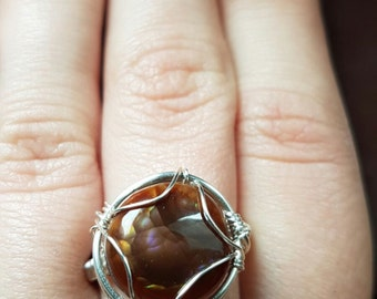 rare fire agate ring
