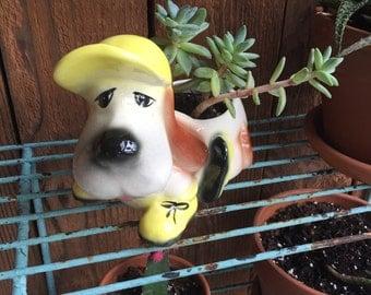 Vintage Ceramic Dog Planter, Puppy Planter