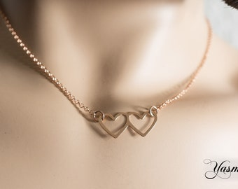 Double heart rose gold plated on Sterling