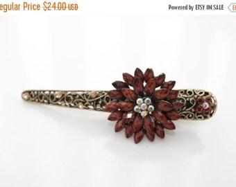 On Sale New Woman's Brown Large flower rhinestone alligator long metal hair clip