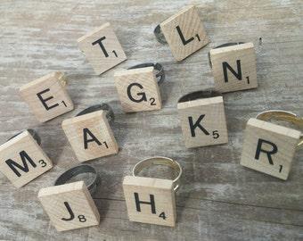 Scrabble Tile Initial Ring