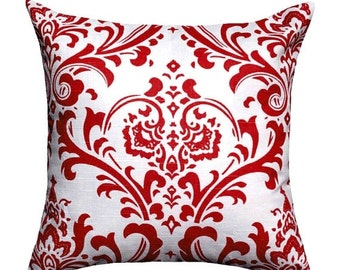 Red Damask Pillow Cover, Red and White Pillow, Traditions Lipstick Red Throw Pillow, Red Accent Pillow, Damask Pillow Case, Red Throw Pillo