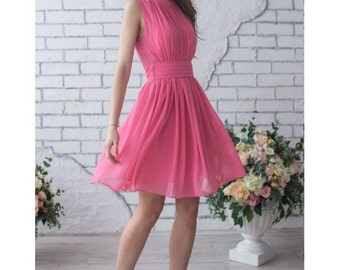 Pink Wedding Dress Bridesmaid Short Party Dress Pink Chiffon Pleated Sleeveless Dress Pink