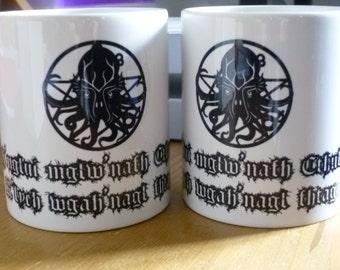 Cthulhu Mug Lovecraft Lovecraftian 1920's Gothic Horror Old ones Kraken Elders Ph'nglui mglw'nath Cthulhu R'lyeh wgah'nagl fhtagn