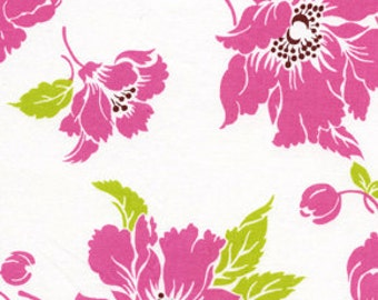 Sale 6 Yard Quilt Back Dolce Large Pink Floral on White by Tanya Whelan of Grand Revival for Free Spirit  OOP HTF