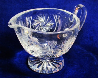 Gorgeous Pinwheel Cut Crystal Footed Gravy Boat Large VG