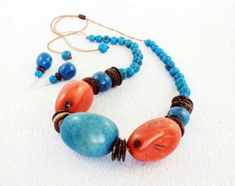 Tagua Nut Necklace for Her - Blue and Orange Necklace - Earring and Necklace Set - Chunky Jewelry - Orange Statement Necklace 1240