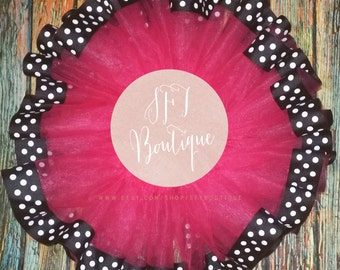 Pink Tutu with Black and White Polka Dot Ribbon Minnie Mouse