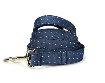 Indigo Swiss Dot Dog Leash, Indigo Dog Leash, Chambray Dog Leash, Denim Dog Leash, Preppy Dog Leash, Swiss Dot Dog Leash, Dog Lead