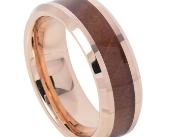 8mm Wood Tungsten Ring, Custom Engraved  Tungsten Ring,  Tungsten Wedding Ring, Comfort Fit, Father's day Gift TFREE ENGRAVING