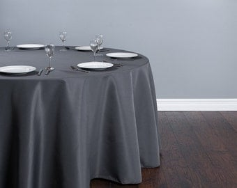 High Quality 130 Inch Round Gray Tablecloth Polyester | Wedding Tablecloth