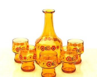 Service à ORANGEADE motifs FLEURS  6 pièces / Drink set blossoms '70