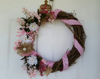 Spring or Summer wreath, grapevine and pink